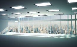 Sikt av byggnader från högt löneförhöjningfönster Royaltyfri Fotografi