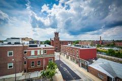 Sikt av byggnader i i stadens centrum Nashua, New Hampshire Royaltyfri Bild