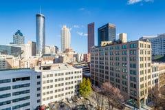 Sikt av byggnader i i stadens centrum Atlanta, Georgia royaltyfri fotografi