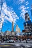 Sikt av byggnader nya USA york Arkivfoton