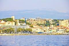 Sikt av Cannes från havet Royaltyfri Bild