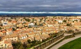 Sikt av Carcassonne från fästningen - Frankrike Royaltyfri Foto
