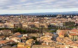 Sikt av Carcassonne från fästningen, Languedoc, Frankrike Royaltyfri Foto