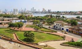 Sikt av Cartagena från Castillo San Felipe de Barajas, Colombia Arkivbild