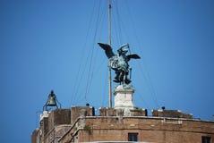 Sikt av Castel Sant ' Angelo Rome, Italien arkivfoto
