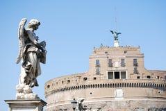 Sikt av Castel Sant ' Angelo Rome, Italien arkivbilder