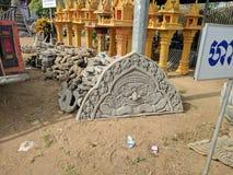 Sikt av centrala kambodjanska bygd och tempel Royaltyfria Foton