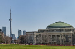 Sikt av CN-tornet från universitet av Toronto Arkivfoto