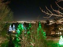 Sikt av Colorado Springs från Cheyenne Mountain arkivfoton