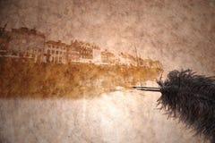 Sikt av copenhagen på ett tappningpapper Arkivbild