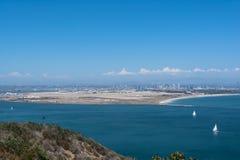 Sikt av Coronado från Point Loma, Kalifornien Arkivfoton