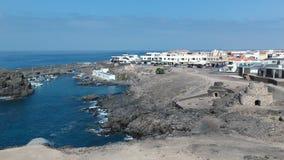 Sikt av Corralejo på ön av Fuerteventura royaltyfri fotografi