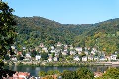 Sikt av dalen av floden Neckar i Heidelberg, Tyskland Royaltyfria Bilder
