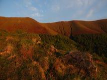 Sikt av de Carpathian bergen Arkivfoton
