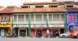 Sikt av de gamla husen i Geyland, Singapore Royaltyfria Foton