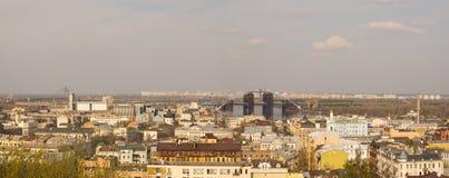 Sikt av de gamla och nya områdena av Kyiv Royaltyfri Fotografi