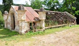 Sikt av de gamla växthusen Arkivfoton