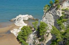 Sikt av de steniga klipporna nära staden av Vieste Arkivbilder