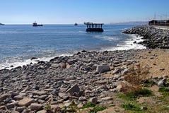 Sikt av den övergav skeppsdockan i Chile royaltyfri bild