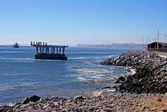 Sikt av den övergav skeppsdockan i Chile arkivfoto