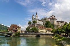 Sikt av den Aarburg slotten, Schweiz Royaltyfria Foton