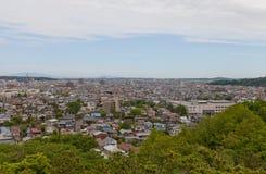 Sikt av den Akita staden från den Kubota slotten, Japan Arkivfoto