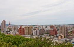 Sikt av den Akita staden från den Kubota slotten, Japan Royaltyfria Bilder