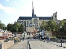 Sikt av den Amiens domkyrkan, Frankrike Arkivfoto