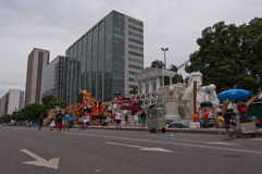 Sikt av den Avenida Presidente Vargas avenyn i Rio de Janeiro under karneval arkivbild