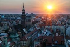 Sikt av den berömda polska staden Wroclaw Europeisk huvudstad av kultur royaltyfri bild
