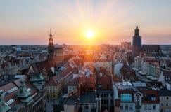 Sikt av den berömda polska staden Wroclaw Europeisk huvudstad av kultur fotografering för bildbyråer