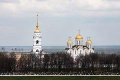 Sikt av den berömda Uspensky domkyrkan i Vladimir, Ryssland Guld- cirkel od Ryssland Royaltyfri Foto