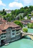 Sikt av den Bern- och Aare floden Fotografering för Bildbyråer