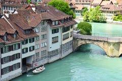 Sikt av den Bern- och Aare floden Royaltyfri Bild