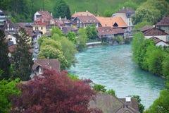 Sikt av den Bern- och Aare floden, Schweiz Royaltyfri Foto