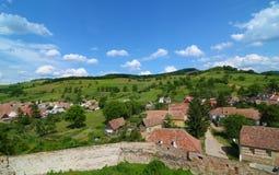 Sikt av den Biertan byn, Rumänien Royaltyfri Bild