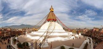 Sikt av den Bodhnath stupaen Arkivfoto