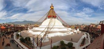 Sikt av den Bodhnath stupaen Arkivbilder