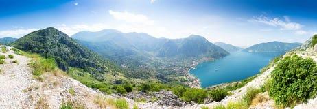 Sikt av den Boka-Kotor fjärden, Montenegro Arkivfoto