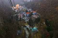 Sikt av den Borjomi staden Royaltyfri Fotografi