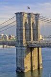 Sikt av den Brooklyn bron över Eastet River, New York City, NY Arkivfoto