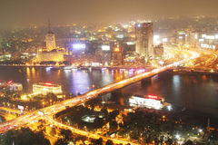 Sikt av den cairo natten Royaltyfria Foton