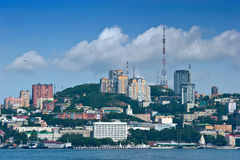 Sikt av den centrala delen av Vladivostok Ryssland 02 09 2015 Arkivbilder