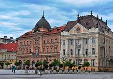 Sikt av den centrala fyrkanten av den Novi Sad staden Fotografering för Bildbyråer
