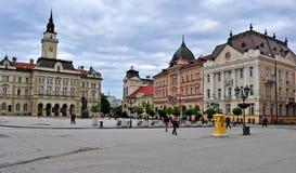 Sikt av den centrala fyrkanten av den Novi Sad staden, Serbien Fotografering för Bildbyråer