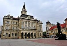 Sikt av den centrala fyrkanten av den Novi Sad staden, Serbien Royaltyfri Foto