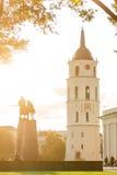 Sikt av den centrala fyrkanten Vilnius Royaltyfria Bilder
