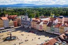 Sikt av den centrala stadfyrkanten i Ceske Budejovice, Tjeckien Royaltyfri Bild