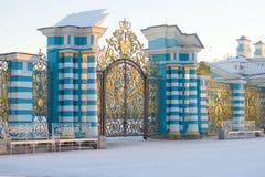 Sikt av den ceremoniella porten av Catherine Palace i den Februari aftonen Tsarskoye Selo Royaltyfri Fotografi