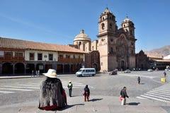 Sikt av den Cusco domkyrkan i Cusco, Peru Fotografering för Bildbyråer